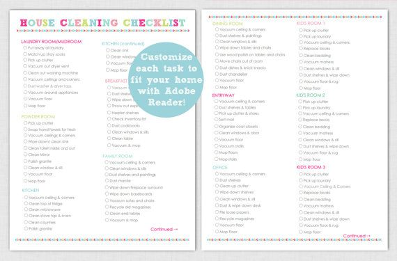 Editable house cleaning checklist printable instant for Custom home design checklist