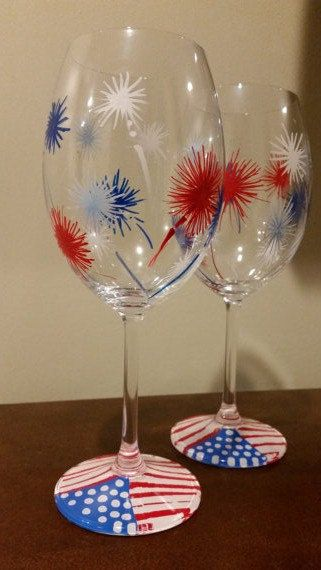 American Patriotic Hand Painted Wine Glasses by WynoDesign on Etsy