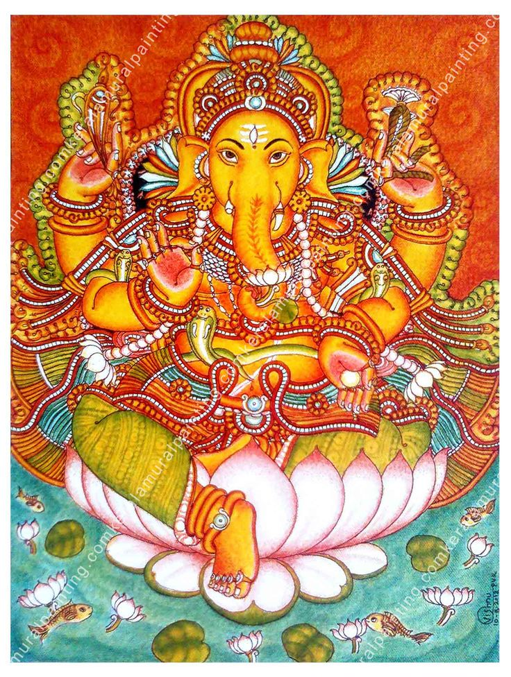 kerala mural paintings Ganapathi 13 Acrylic on Canvas 14x24 inches in Switzerland-Indian Restaurant