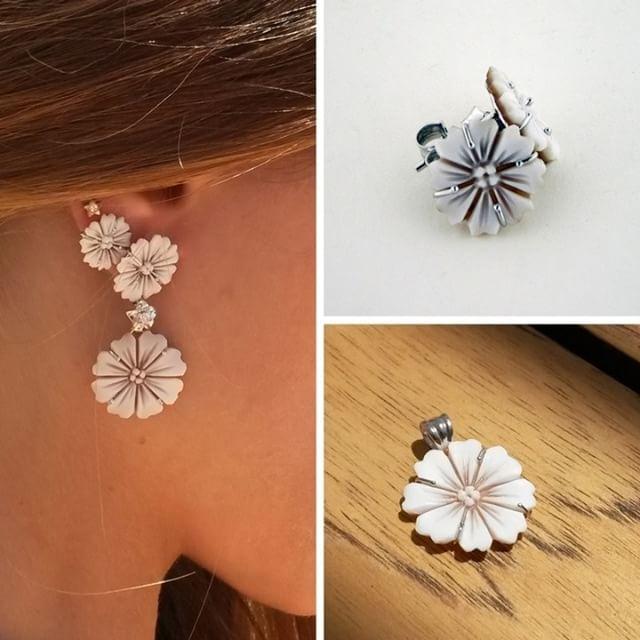 Set of cameo flowers!    #donadiojewelry #cameojewelry #flower #cameoflower