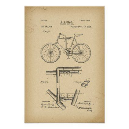 1896 Patent folding Bicycle Poster - vintage gifts retro ideas cyo #patentartgifts