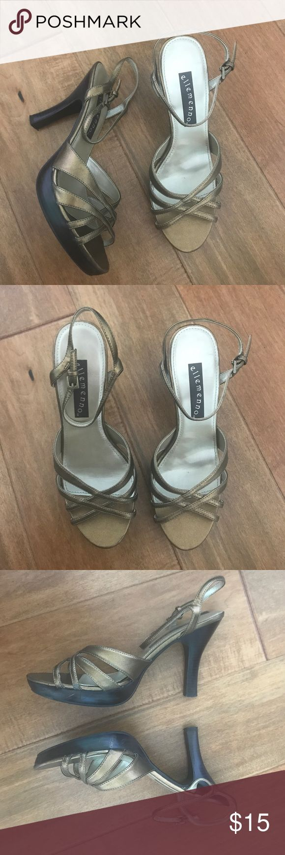 """NWT Charlotte Russe Heels Brand new and never worn. Charlotte Russe """"ellemenno"""" brand heels. Size 9. Bronze/Gold color with wood-like heel and ankle straps. Heel measures 3.5"""" inches tall. A few minor scuff marks, they were purchased that way. Charlotte Russe Shoes Heels"""