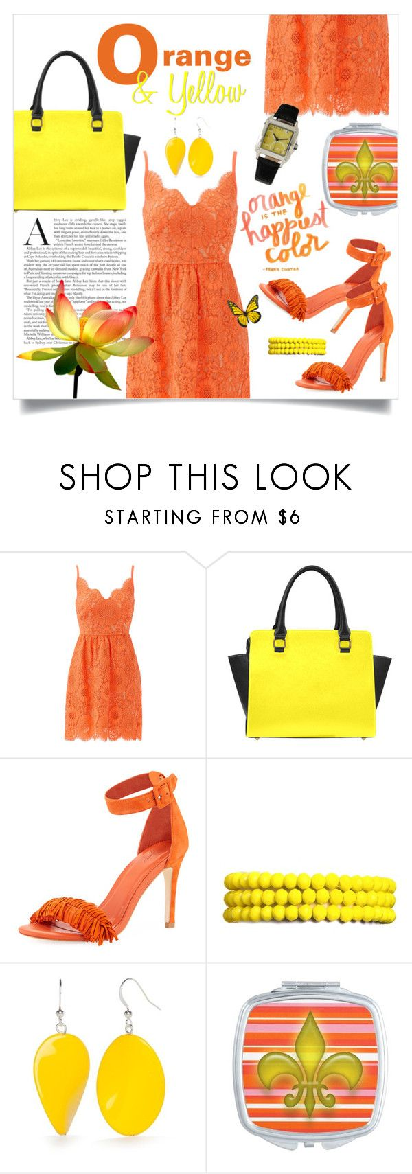 """""""Orange & Yellow Vibrant Summer Look"""" by colormegirly ❤ liked on Polyvore featuring Trina Turk, Joie, Amrita Singh, Kim Rogers, handbags, fashionset and polyvoreset"""