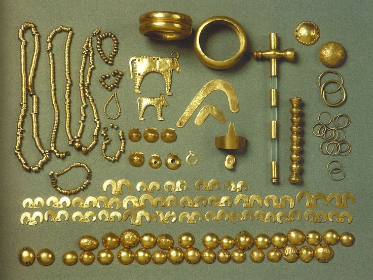 Varna golden treasure (6th - 5th millenia BC), the world's oldest gold  The discovery of the Varna Chalcolithic Necropolis revealed proofs of the oldest European civilization and the world's oldest gold. In significance the sensational discovery rivals Heinrich Schliemann's discovery of Troy.    In the investigated until recently 280 graves there have been uncovered 3,010 golden objects of overall weight of more than 6 kg, 23.5 carat purity.  (Bulgaria)