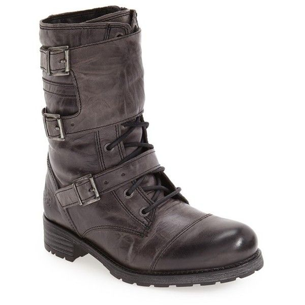 Women's Bos. & Co. 'Irena' Waterproof Moto Boot (1.830 NOK) ❤ liked on Polyvore featuring shoes, boots, grey ocean wax leather, waterproof footwear, rugged boots, biker boots, water proof shoes and motorcycle boots
