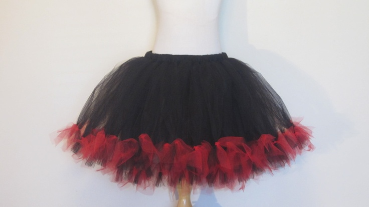 Petti Skirt Black Red tutu Skirt Baby Toddler Teen Adult Teen Goth Halloween Costume by American Blossoms. $50.00, via Etsy.