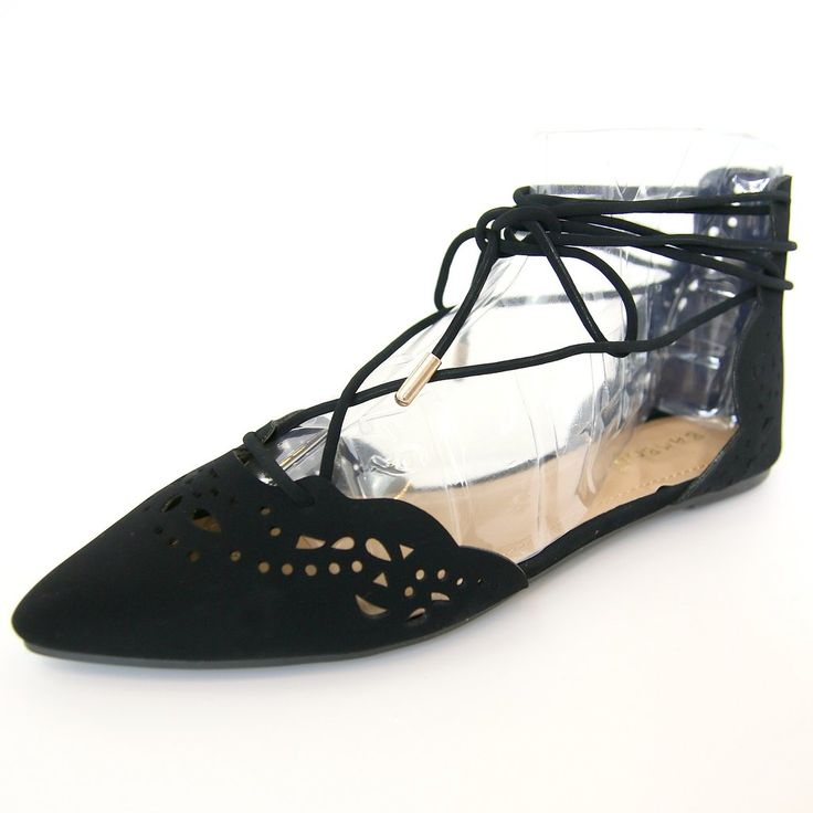Details Pointed Toe Black Flats with Lace-Up and Laser Cutout Detail Content + Care Size + Fit