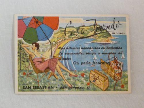 SPAIN, SAN SEBASTIAN Casa Trionde advertising art postcard 1950's   eBay