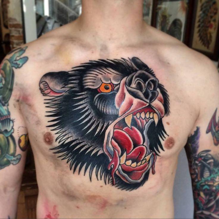 Bear Tattoo, Chestpiece, Traditional Tattoo