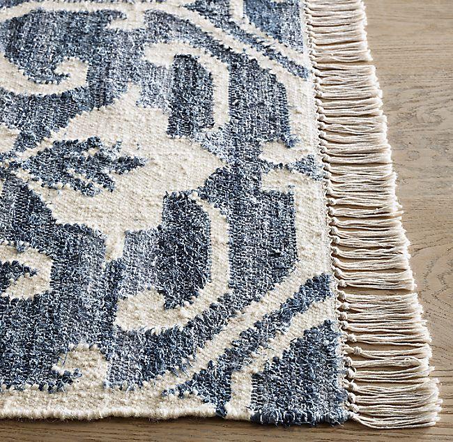 Scroll Vintage Denim Wool Flatweave Rug In 2020 Flat Weave Wool Rug Modern Flatweave Rug Woven Rug Living Room