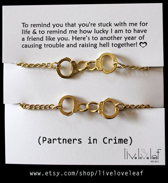 Matte gold Handcuffs bracelet one for you one for your Partner in crime, Best Friend, BFF jewelry Graduation gift ideas Bffs Matching cuffs