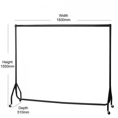 Heavy Duty Clothes Rail - 6ft Wide, Black | Clothes Rails Range