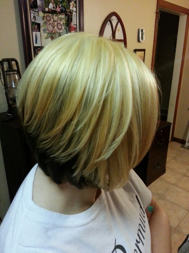 Blonde on top and brown on the bottom on a bob hairstyle