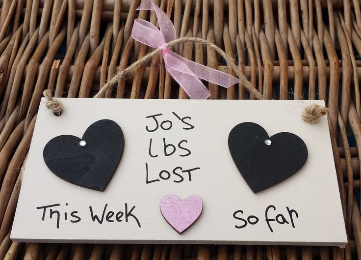 Cream Weight Loss Plaque - 2 hearts (my Lbs Lost + Heart) - Little Miss Scrabbled