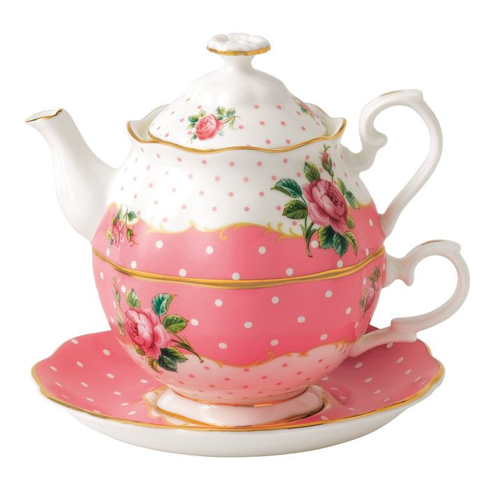 Vintage Tea for One Cup and Saucer Teapot Set