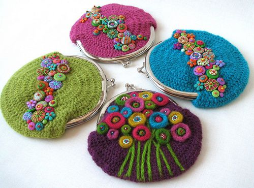 lovely purses, crochet and embroidery