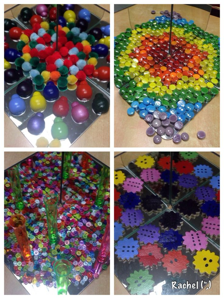 "Rainbow loose parts on the mirror box - from Rachel ("",)"