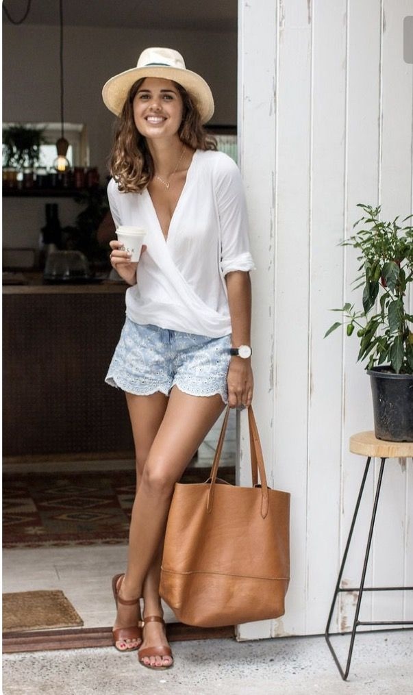 ~~~Love this outfit!  White wrap shirt with beautiful light blue eyelet shorts.  That leather tote!!! Stitch fix spring fashion trends.  Spring 2017 fashion #affiliatelink