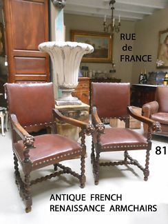 ANTIQUE FRENCH 19TH CENTURY RENAISSANCE CHERUB ARMCHAIRS