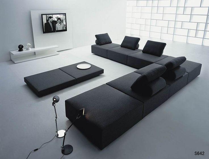 Sectional Sofa Simply Casa us SIMPLY SOFA Contemporary living room modern living room Black contemporary sofas