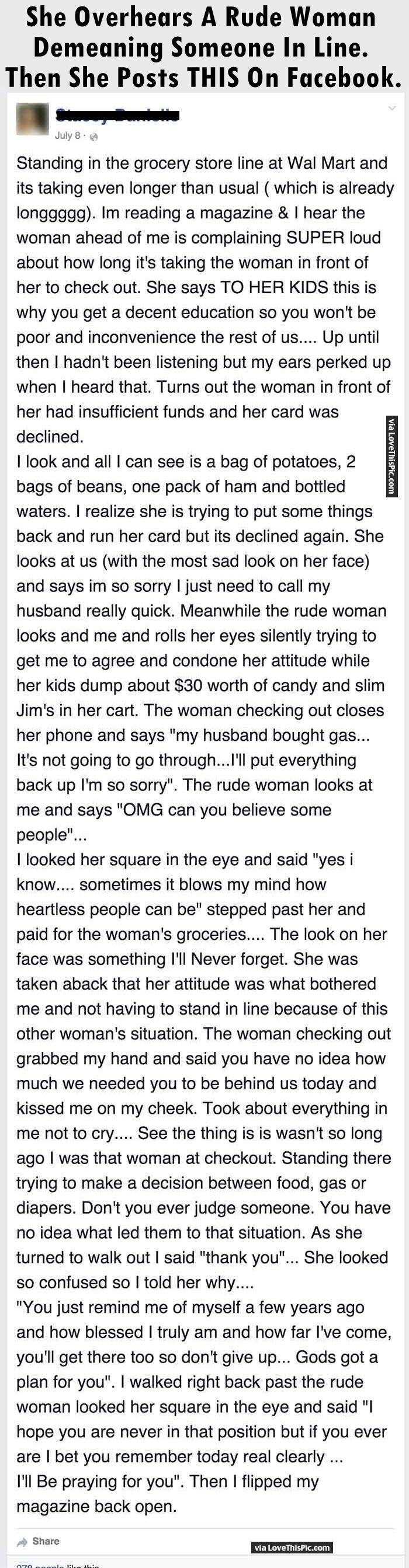 She Overhears A Rude Woman Demeaning Someone In Line Then She Posts This On Facebook. people amazing story interesting facts stories heart warming good people