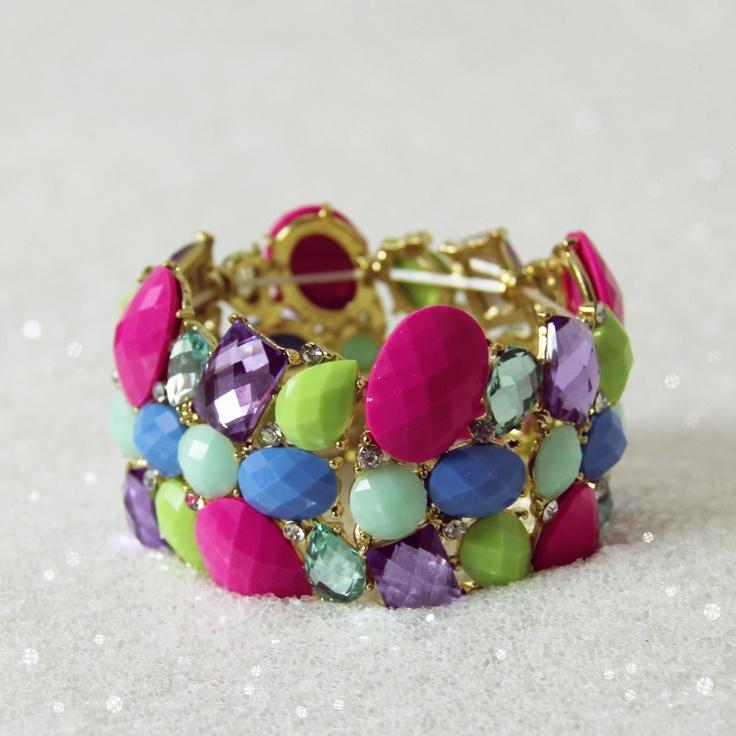 Jeweled Mint Bracelet in Pink, Women's Sweet Bohemian Jewelry