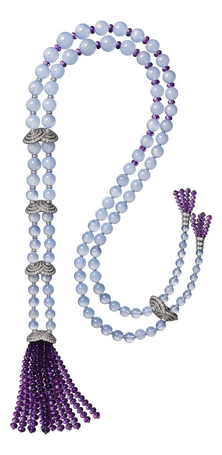 Étourdissant Cartier necklace in platinum, chalcedony, amethyst, and diamonds.