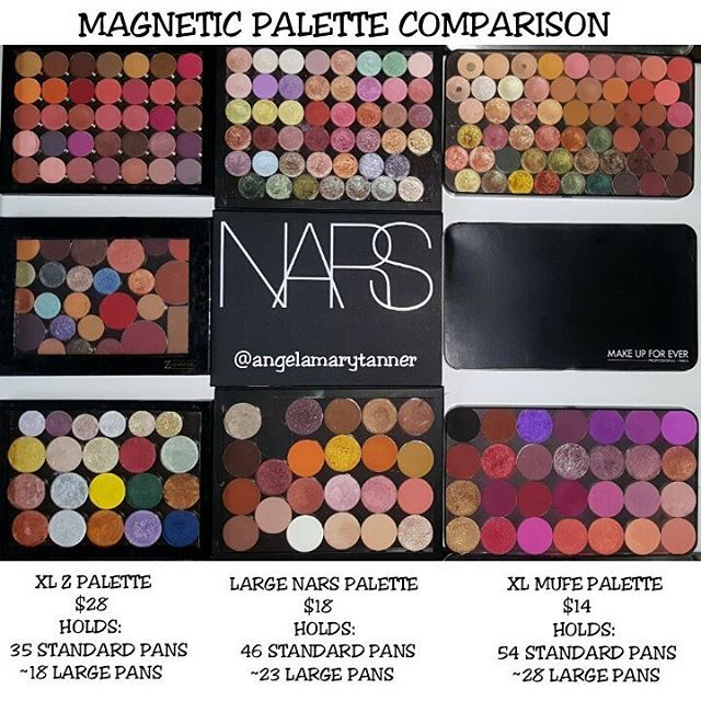 Ladies and gentlemen, I proudly present to you... my MAGNETIC PALETTE COMPARISON! I know there are other options out there. I also have a bunch from MAC and 1 from MORPHE but these 3 are my favorites.  XL Z PALETTE ($28)- this is probably the most popular magnetic palette. It holds 35 regular eyeshadow pans and about* 18 large pans. *There's more variation in the diameters of large pans. So it might hold 18 MUFE pans but only 16 SAUCEBOX pans.  PROS: *LIGHTWEIGHT *CLEAR LID *SOLD BY MANY…