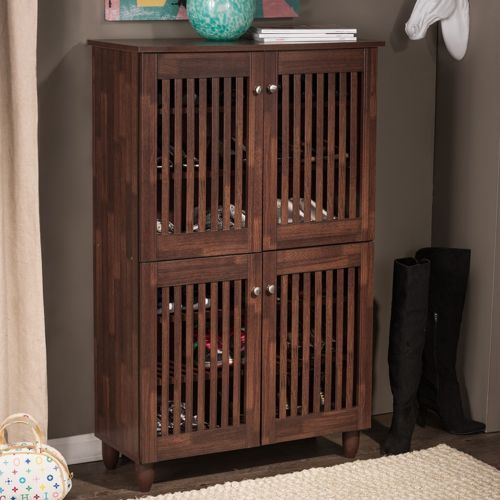 Shoe-Storage-Cabinet-6-Shelf-4-Doors-Entryway-Organizer-Hall-Wood-Rack-Brown-Oak