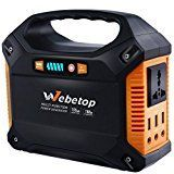 Webetop Portable Generator Power Inverter Battery 100W 42000mAh Camping CPAP Emergency RC Helicopter UPS Power Supply Charged by Solar Panel/ Wall Outlet/ Car with 110V AC Outlet3 DC 12V3 USB Port