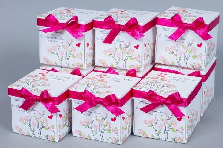 Pink virágos dobozos esküvői meghívó _ pink and flower box wedding invitaton