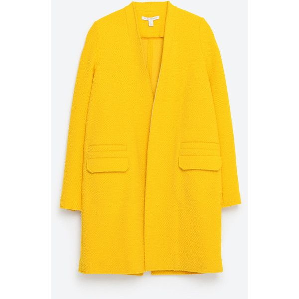 Zara Structured Coat (£90) ❤ liked on Polyvore featuring outerwear, coats, jackets, veste, yellow, yellow coat and zara coat