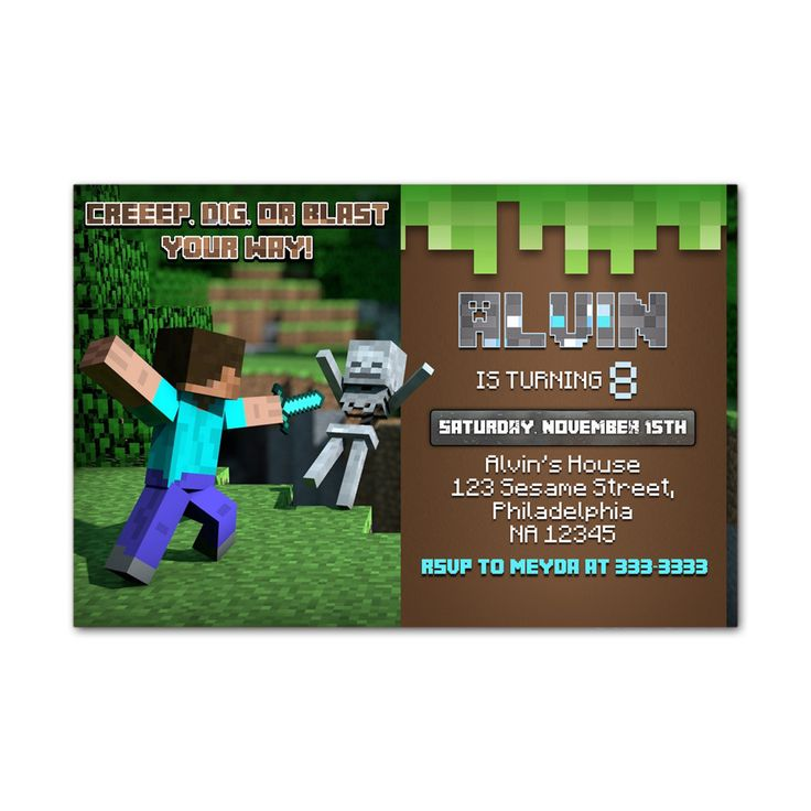 Herobrine Vs Creeper Kids Birthday Invitation Party Design