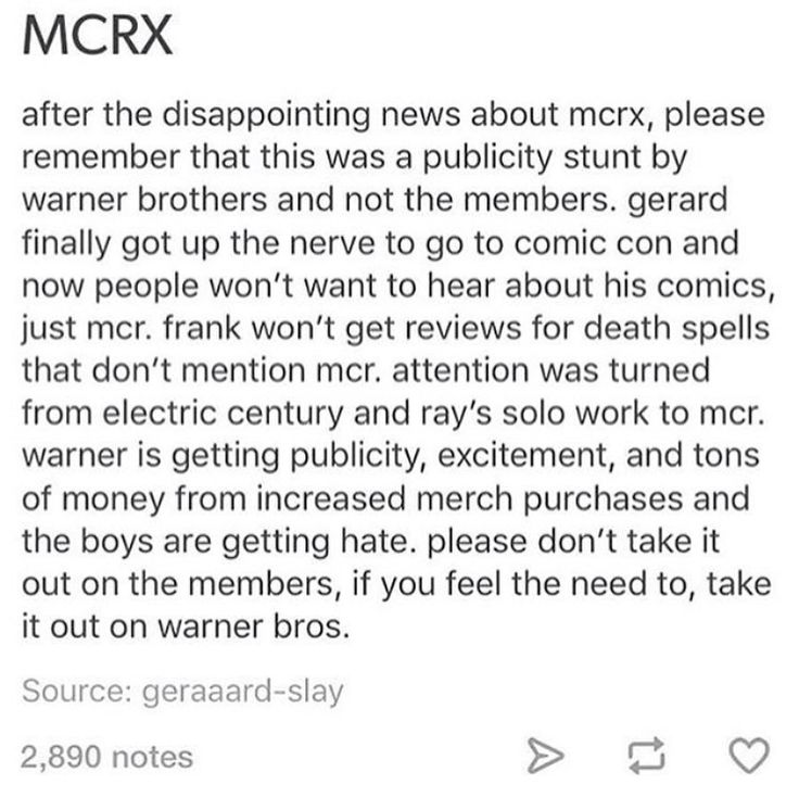 I am definitely not going to be mean to anyone about it. I might buy shirts and stuff to celebrate the anniversary of The Black Parade. I hope the boys are doing good and that this stops affecting them soon. I just want them to be okay. Whether they get back together or not. -@myfalloutpanic
