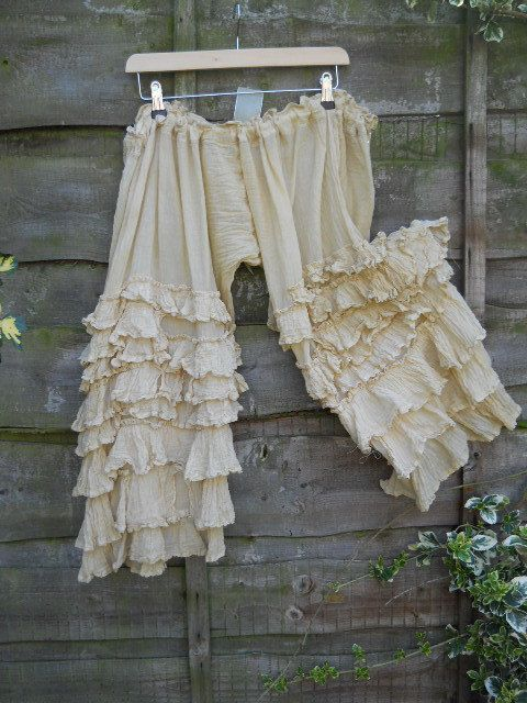 Rita No Tiara, Victorian Romantic Lagenlook OSFA Cream Pearl Bloomers Trousers, Pants Layering Ruffles of Cotton & Silk Blend, •Handmade item •Made to order