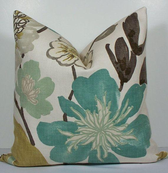 Floral Designer Teal pillow - Decorative Pillow Cover- KRAVET EURO sham - throw pillow -green-aqua-gray -accent pillow