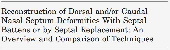 Reconstruction of Dorsal and/or Caudal Nasal Septum Deformities With Septal Battens or by Septal Replacement: An Overview and Comparison of Techniques