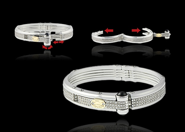 This aluminum bracelet comes with 18k yellow gold and diamond logo, onyx cabochons and diamonds.