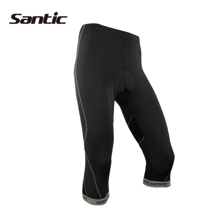 SANTIC Bicycle Cycling Men's 3/4 Shorts-Trace With 4D Coolmax Pad Riding Bike Short Pants Sportswear Bicycle Clothes Black Gray