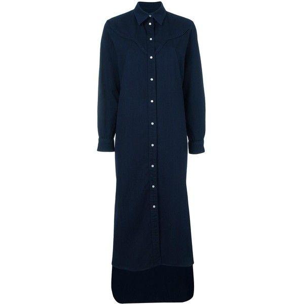Mm6 Maison Margiela maxi shirt dress ($435) ❤ liked on Polyvore featuring dresses, blue, blue cotton dress, maxi shirt dress, blue maxi dress, mm6 maison margiela and blue dress