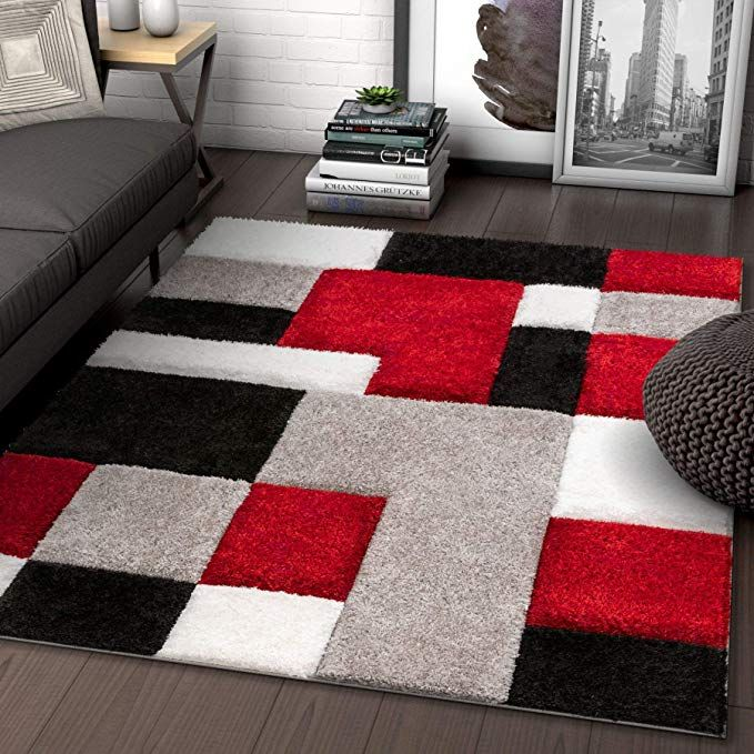 Well Woven Ella Red Geometric Boxes Thick Soft Plush 3d Textured Shag Area Rug 5x7 5 3 Black And Red Living Room Grey And Red Living Room Gray Rug Living Room