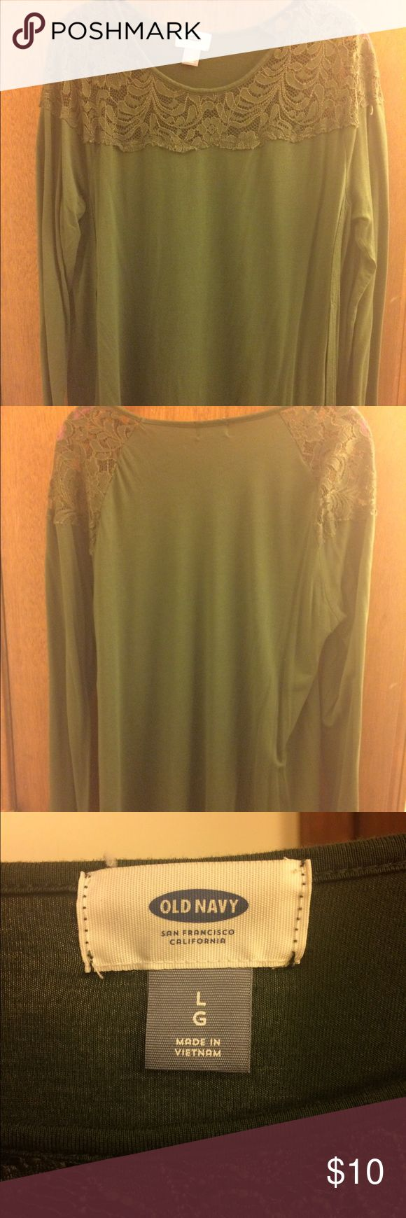 Old Navy long sleeve top Olive green old navy top, long sleeve. Lace along shoulders, with a slight split on side. Old Navy Tops Blouses
