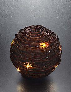 Natural LED Light-Up Rattan Ball Christmas Decoration
