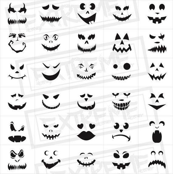 30 Halloween Pumpkin Face Stencils Pumpkin Carving Stencils Monster Faces Clipart Jack O Lantern Templates Scary Faces Silhouette Halloween Pumpkin Carving Stencils Pumpkin Carvings Stencils Pumpkin Stencil