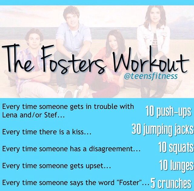 Posting about 15 pins do be ready! Here's a TV show workout if you watch The Fosters!