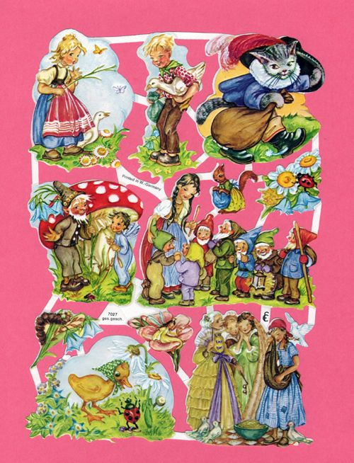 Glansbilleder are paper cutouts popular in Scandinavia.   They peaked in popularity in the 1940s and 1950s. Here are a few