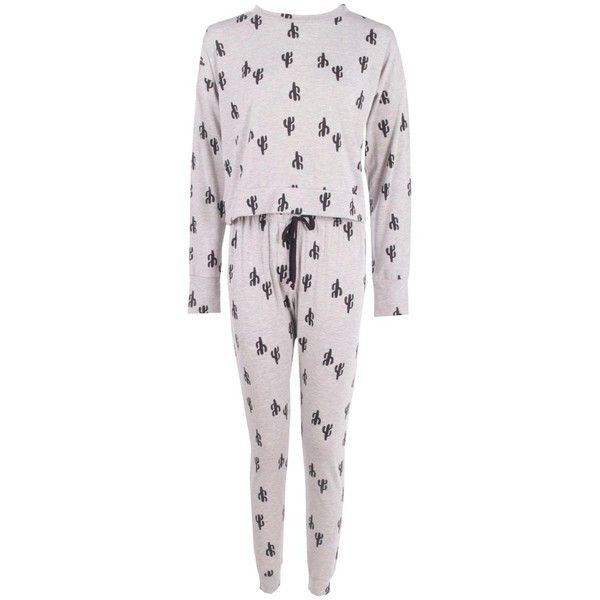 Boohoo Ava Long Sleeve Top And Jogger Cactus Print Set | Boohoo ($26) ❤ liked on Polyvore featuring intimates, sleepwear, pajamas, long sleeve pajamas, long sleeve pyjamas and long sleeve sleepwear
