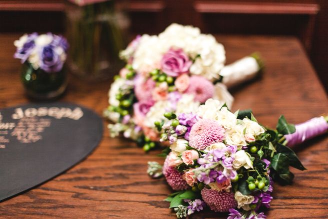 Flowers by Teresa Soleau. Photo by A Sight of Love. Bouquets. Dahlia Mums. Stock. Roses. Romantic. Pink. Lavendar. Ivory.