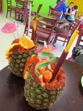 La Real Michoacana's Rusa: A carbonated grapefruit soda in a pineapple, served with candy and pieces of fruit covered in chili powder. This Mexican paleteria recently opened a second location on College Street.