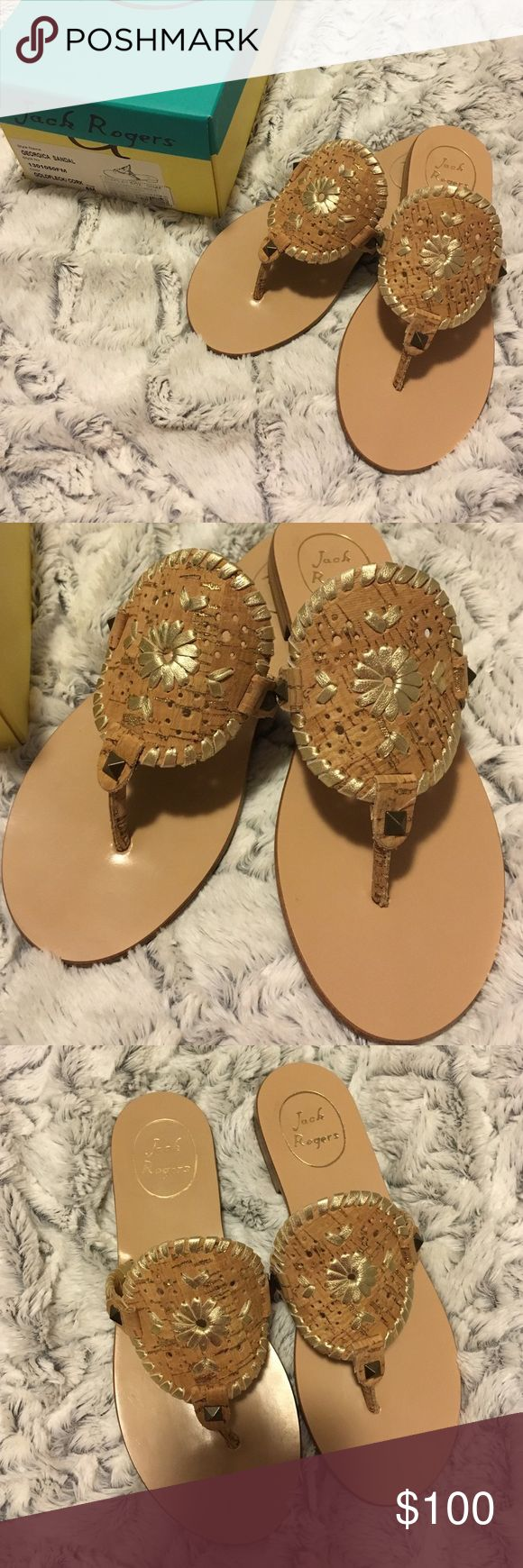 Jack Rogers Cork Sandals Jack Rogers cork/gold fleck Georgica sandals. BRAND NEW in box, absolutely never worn. SO comfortable and go with just about anything. Size 6!  don't pass these up! Jack Rogers Shoes Sandals